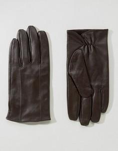 Коричневые кожаные перчатки Barneys - Коричневый Barneys Originals