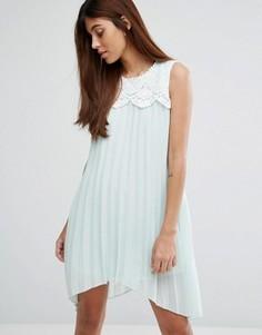 Платье асимметричной длины с кружевом Darling - Зеленый