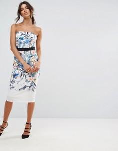 Платье миди бандо с ботаническим принтом Little Mistress - Белый