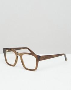 Квадратные очки с прозрачными стеклами Gucci - Коричневый