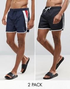 2 коротких шорт для плавания в стиле ретро Bravesoul - Черный