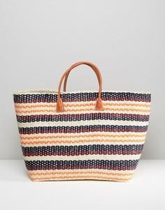Соломенная сумка-тоут в полоску Hat Attack Provence - Мульти