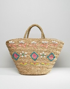 Соломенная сумка-тоут Hat Attack Seashell - Мульти