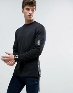 Длинный свитшот с принтом на манжетах и карманом на предплечье Jack & Jones Core - Черный