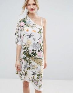 Ассиметричное платье миди с вышивкой ASOS PREMIUM - Мульти