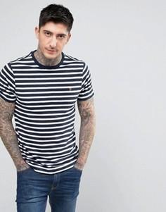 Сине-белая узкая футболка в бретонскую полоску Farah Lennox - Темно-синий