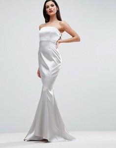 Атласное платье макси с лифом-бандо ASOS RED CARPET - Серебряный