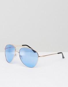 Золотистые солнцезащитные очки-авиаторы с синими стеклами ASOS - Золотой