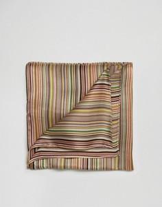 Шелковый платок для пиджака в полоску Paul Smith - Мульти