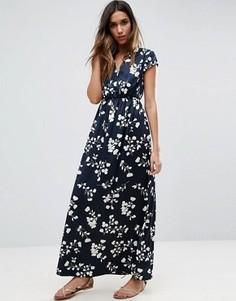 Платье макси с коротким рукавом и цветочным принтом Vila - Темно-синий