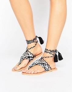 Кожаные сандалии с высокой завязкой ASOS FOSSIL - Мульти