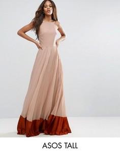 Плиссированное платье макси с атласной вставкой ASOS TALL - Мульти