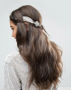 Украшение для волос с объемными цветами и листьями ASOS - Серебряный