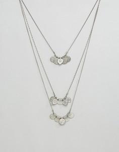 Ярусное ожерелье с подвесками в виде дисков Pieces Maggie - Серебряный