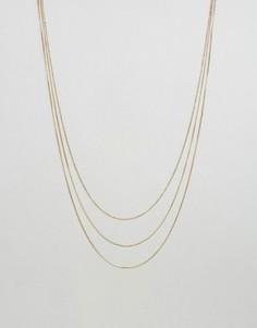 Тонкое позолоченное ожерелье в несколько рядов Pieces Miley - Золотой