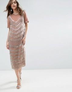 Цельнокройное платье миди с декоративной бахромой ASOS GOLD - Розовый