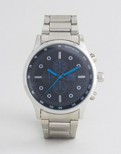 Серебристые часы с черным циферблатом и синими указателями Crosshatch - Серебряный