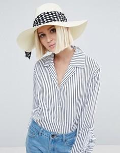 Соломенная шляпа цвета слоновой кости с шарфом в горошек Genie by Eugenia Kim Willa - Белый