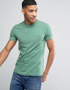 Узкая зеленая футболка с логотипом-флажком Tommy Hilfiger - Зеленый