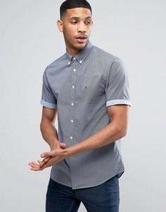 Узкая синяя рубашка с короткими рукавами Tommy Hilfiger - Темно-синий