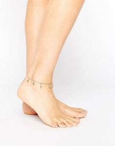 Браслет на ногу с подвеской хамса ASOS - Золотой