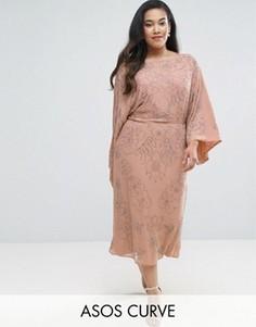 Платье миди с отделкой ASOS CURVE WEDDING - Розовый