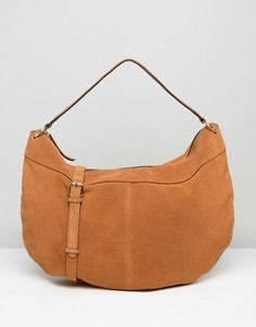 Замшевая сумка на плечо Pieces - Коричневый