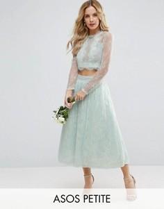 Кружевная юбка для выпускного ASOS PETITE Bridesmaid - Зеленый