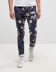 Синие брюки скинни с цветочным и камуфляжным принтом ASOS - Темно-синий