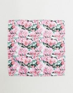 Платок для пиджака с цветочным принтом ASOS - Розовый