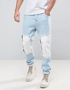 Голубые выбеленные джинсы зауженного кроя с рваной отделкой ASOS - Синий