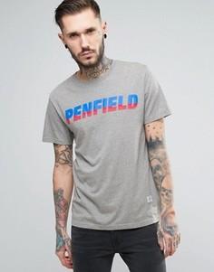 Серая меланжевая футболка с логотипом в стиле 80-х Penfield Montoya - Серый