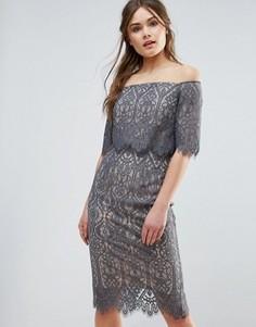 Кружевное платье с вырезом лодочкой Coast Marsha - Серый