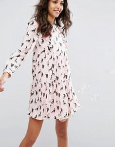 Платье с принтом кошек Paul & Joe Sister - Розовый