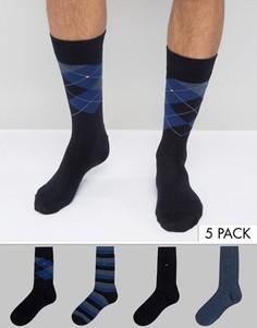 4 пары темно-синих носков в подарочной упаковке Tommy Hilfiger - Темно-синий