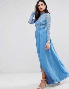 Кружевное платье макси с высокой горловиной Club L - Серый