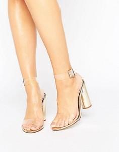 Босоножки на каблуке цвета металлик с прозрачным ремешком Miss Selfridge - Мульти