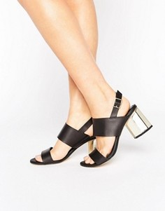 Сандалии на каблуке цвета металлик Miss Selfridge - Черный