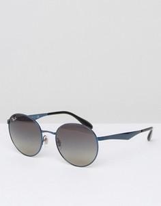 Солнцезащитные очки в круглой голубой оправе Ray-Ban - Синий