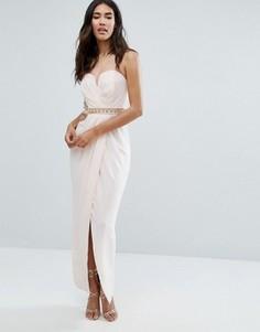 Платье макси с отделкой на талии TFNC - Розовый