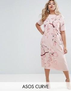 Цельнокройное платье миди с вышивкой ASOS CURVE - Розовый