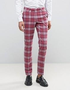 Супероблегающие брюки в клетку Noose & Monkey - Розовый