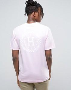 Футболка с принтом в клетку на спине HUF - Розовый