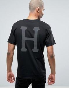 Футболка c классическим логотипом на спине HUF - Черный