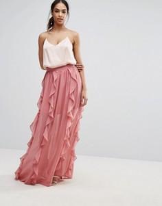 Шифоновая юбка макси с оборками Boohoo - Розовый