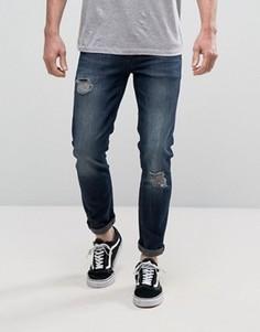 Рваные темные джинсы скинни ASOS - Синий
