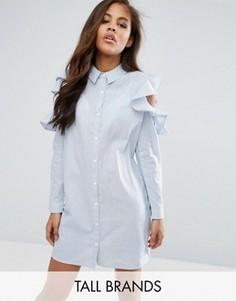 Платье-рубашка с вырезами на плечах и оборками Missguided Tall - Синий