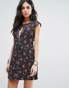 Платье мини с принтом Free People Say Yes - Черный