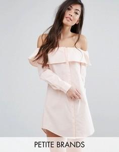 Платье-рубашка с широким вырезом и пуговицами спереди Fashion Union Petite - Розовый