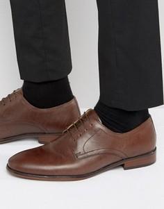 Коричневые кожаные строгие туфли на шнуровке Red Tape - Коричневый